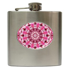 Twirling Pink, Abstract Candy Lace Jewels Mandala  Hip Flask by DianeClancy