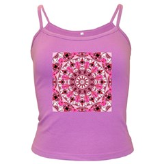 Twirling Pink, Abstract Candy Lace Jewels Mandala  Spaghetti Top (colored) by DianeClancy