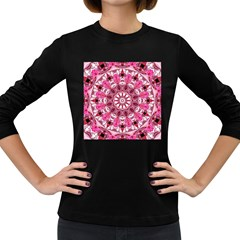 Twirling Pink, Abstract Candy Lace Jewels Mandala  Women s Long Sleeve T Shirt (dark Colored) by DianeClancy