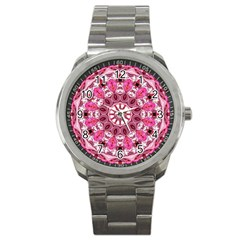 Twirling Pink, Abstract Candy Lace Jewels Mandala  Sport Metal Watch by DianeClancy