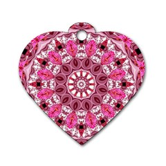 Twirling Pink, Abstract Candy Lace Jewels Mandala  Dog Tag Heart (one Sided)  by DianeClancy