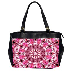 Twirling Pink, Abstract Candy Lace Jewels Mandala  Oversize Office Handbag (two Sides) by DianeClancy