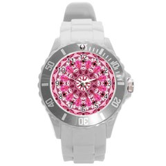 Twirling Pink, Abstract Candy Lace Jewels Mandala  Plastic Sport Watch (large) by DianeClancy