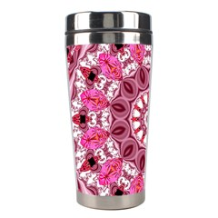 Twirling Pink, Abstract Candy Lace Jewels Mandala  Stainless Steel Travel Tumbler by DianeClancy