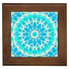 Blue Ice Goddess, Abstract Crystals Of Love Framed Ceramic Tile by DianeClancy