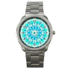 Blue Ice Goddess, Abstract Crystals Of Love Sport Metal Watch by DianeClancy