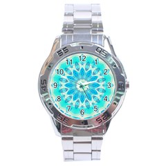 Blue Ice Goddess, Abstract Crystals Of Love Stainless Steel Watch by DianeClancy