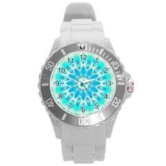 Blue Ice Goddess, Abstract Crystals Of Love Plastic Sport Watch (large) by DianeClancy