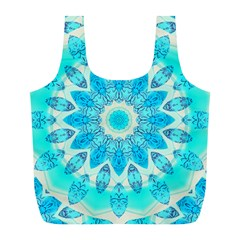 Blue Ice Goddess, Abstract Crystals Of Love Reusable Bag (l) by DianeClancy