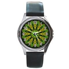 Woven Jungle Leaves Mandala Round Leather Watch (silver Rim) by Zandiepants