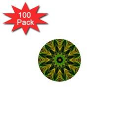 Woven Jungle Leaves Mandala 1  Mini Button (100 Pack) by Zandiepants