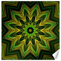 Woven Jungle Leaves Mandala Canvas 16  X 16  (unframed) by Zandiepants