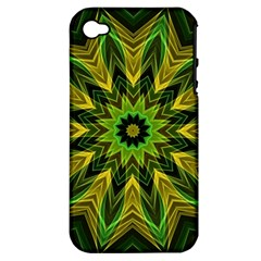 Woven Jungle Leaves Mandala Apple Iphone 4/4s Hardshell Case (pc+silicone) by Zandiepants