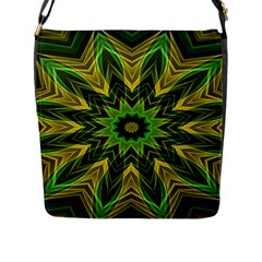 Woven Jungle Leaves Mandala Flap Closure Messenger Bag (large) by Zandiepants
