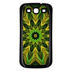 Woven Jungle Leaves Mandala Samsung Galaxy S3 Back Case (Black) by Zandiepants