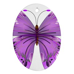 Purple Awareness Butterfly Oval Ornament by FunWithFibro