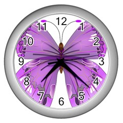 Purple Awareness Butterfly Wall Clock (silver) by FunWithFibro
