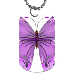 Purple Awareness Butterfly Dog Tag (two Sided)  by FunWithFibro