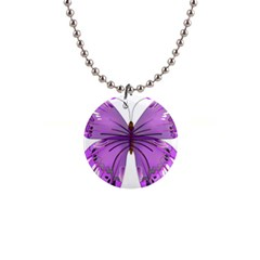 Purple Awareness Butterfly Button Necklace