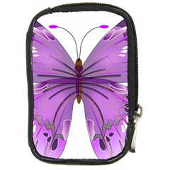 Purple Awareness Butterfly Compact Camera Leather Case by FunWithFibro