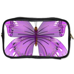 Purple Awareness Butterfly Travel Toiletry Bag (one Side) by FunWithFibro