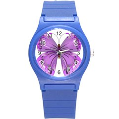 Purple Awareness Butterfly Plastic Sport Watch (small) by FunWithFibro