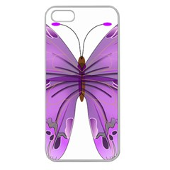 Purple Awareness Butterfly Apple Seamless Iphone 5 Case (clear) by FunWithFibro