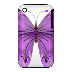 Purple Awareness Butterfly Apple iPhone 3G/3GS Hardshell Case (PC+Silicone) by FunWithFibro