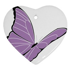 Purple Awareness Butterfly 2 Heart Ornament by FunWithFibro