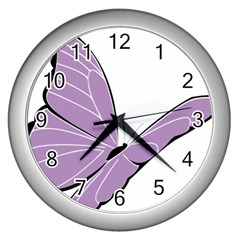 Purple Awareness Butterfly 2 Wall Clock (silver) by FunWithFibro