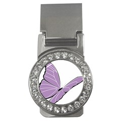 Purple Awareness Butterfly 2 Money Clip (cz) by FunWithFibro