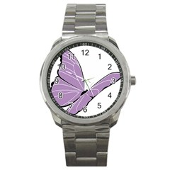 Purple Awareness Butterfly 2 Sport Metal Watch by FunWithFibro
