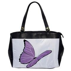 Purple Awareness Butterfly 2 Oversize Office Handbag (one Side) by FunWithFibro