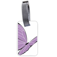 Purple Awareness Butterfly 2 Luggage Tag (two Sides) by FunWithFibro