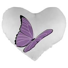Purple Awareness Butterfly 2 19  Premium Heart Shape Cushion by FunWithFibro