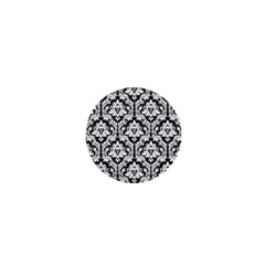 White On Black Damask 1  Mini Button by Zandiepants