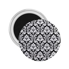 White On Black Damask 2.25  Button Magnet by Zandiepants