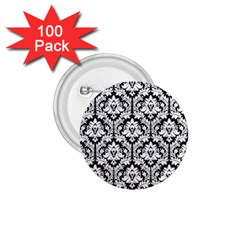 White On Black Damask 1 75  Button (100 Pack) by Zandiepants