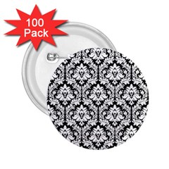 White On Black Damask 2 25  Button (100 Pack) by Zandiepants