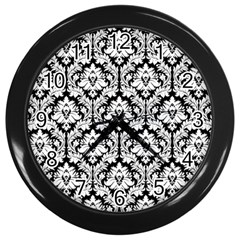 White On Black Damask Wall Clock (black) by Zandiepants