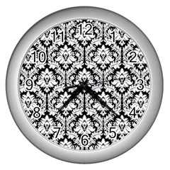 White On Black Damask Wall Clock (silver) by Zandiepants