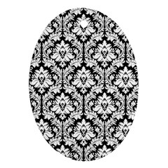 White On Black Damask Oval Ornament (Two Sides) by Zandiepants