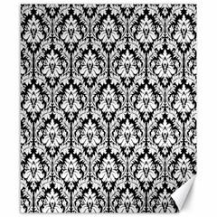 White On Black Damask Canvas 8  X 10  (unframed) by Zandiepants