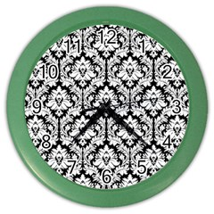 White On Black Damask Wall Clock (color) by Zandiepants
