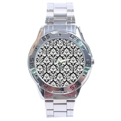 White On Black Damask Stainless Steel Watch by Zandiepants