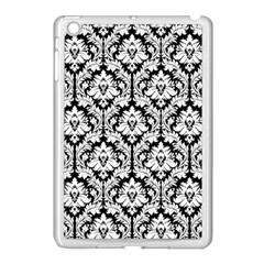 White On Black Damask Apple Ipad Mini Case (white) by Zandiepants