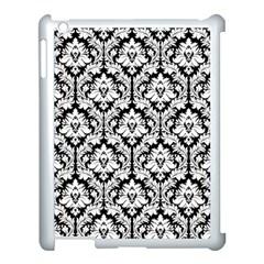 White On Black Damask Apple iPad 3/4 Case (White) by Zandiepants