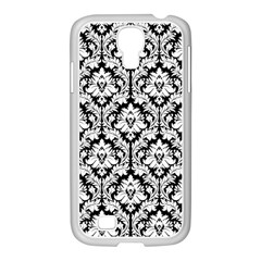 White On Black Damask Samsung Galaxy S4 I9500/ I9505 Case (white) by Zandiepants