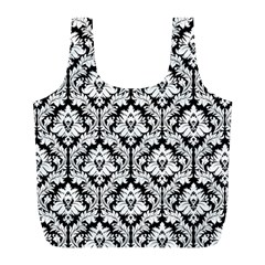 White On Black Damask Reusable Bag (l) by Zandiepants