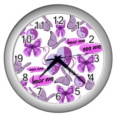 Invisible Illness Collage Wall Clock (silver) by FunWithFibro